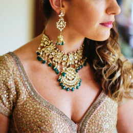 Indian,Bride,Getting,Her,Kundan,Necklace,Her,Wedding,Day,Lahore,